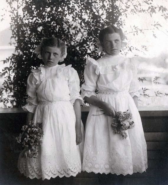 vintage photo sweet Sisters Esther and Gertrude Gorgeous Eyelet Lace DResses
