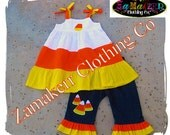 Halloween Candy Corn Girl Outfit Set Custom Boutique Clothing Pant Set Pageant Toddler Baby 3 6 9 12 18 24 month size 2T 3T 4T 5T 6 7 8