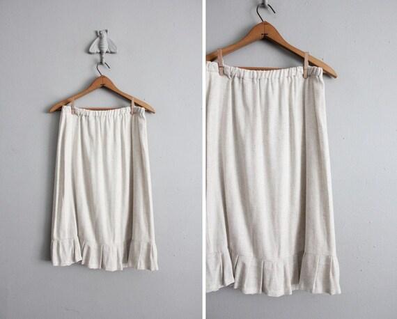 1970s vintage neutral woven ruffle skirt
