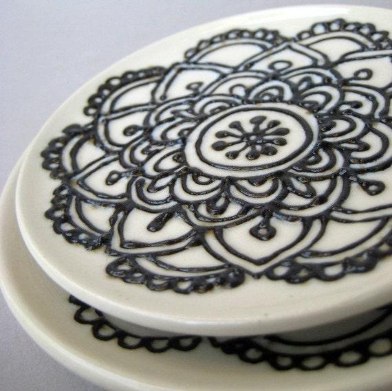 Mehndi Flower Plates : Items similar to henna design plate floral