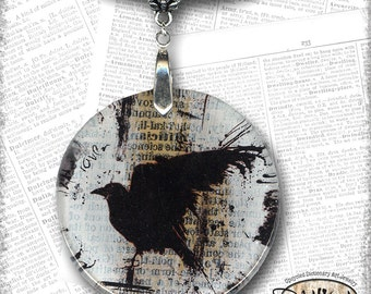 Raven Handmade Glass Art Necklace from Upcycled Dictionary page book art - WilD WorDz - Nevermore