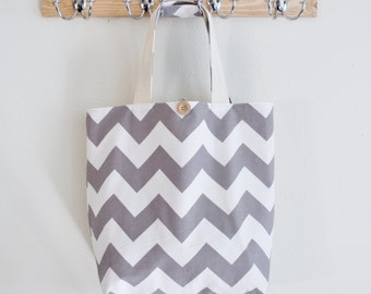 Large Gray Chevron Market Bag - Fabric Shopping Bag in Gray and White