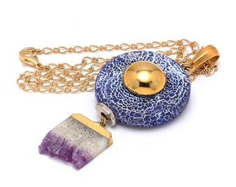 Dual Gemstone Pendant Necklace