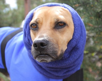 Polar Fleece snood for Medium Dog - royal blue - Dog Snood, Snood for Dog, warm fleece snood for dog