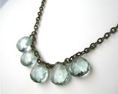 Pale Aqua Briolette Brass Necklace, Icy Green Quartz Necklace, Light Blue Faceted Teardrops, Antiqued Brass Chain, Handmade, Iona