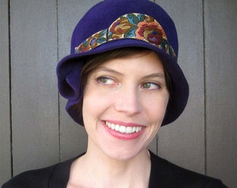 Violet Felt Cloche Hat, Vintage Floral Trim, Purple Womens Hat, Handmade Millinery, Lexington