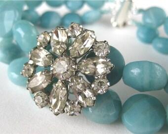 Blue Stone Bracelet, Vintage Rhinestone Silver Bracelet, Robins Egg Blue Amazonite, Handmade, Amita