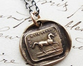 """Wax Seal Horse Necklace in Bronze - French wax seal jewelry - """"High Spirited but Sensible"""" - proud unbridled spirit - mixed metals jewelry"""