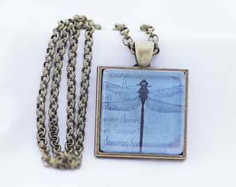 Pale Blue Dragonfly Necklace, Vintage Bronze Pendant, Digital Art Picture Jewelry