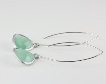 Lime Green Earrings, Silver Tone Framed Teardrop Earrings