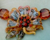 AUTUMN HAZE HelensHarvest Sculpted Lampwork Art Glass Blossom Handmade Beaded Necklace