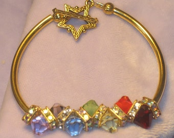 Rainbow crystal gold tube bangle bracelet