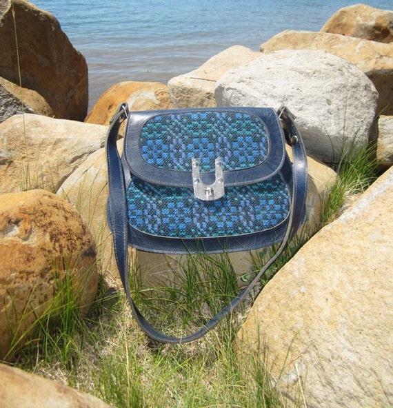1960's Blue Tapestry Purse - Great Mid-Century Design Shoulder Bag - Mod Needlepoint Handbag with Silver Metal Hardware