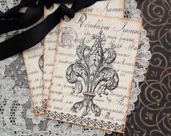Fleur de Lis Tags - French Tags - Vintage French Tags - Set of 3