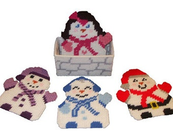 Jolly Snow People Coaster Set Plastic Canvas PDF PATTERN ONLY  **Not Finished Product**