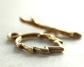 Pewter Leaf and Branch Gold Plated Toggle Clasp :  2 Sets