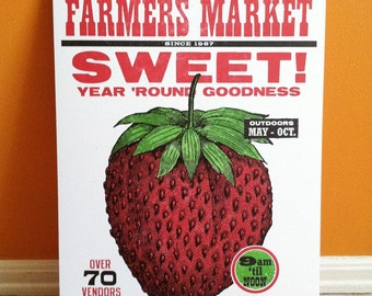 Letterpress Farmers Market STRAWBERRY poster, featuring food illustration with woodtype, Made in Ohio