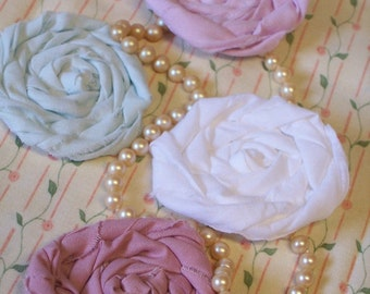 """Fabric Flowers  Rolled Roses Applique Hairclip Bride Wedding Bobby Pin French Rosette 1"""" Scrapbook Handmade Wholesale 20"""