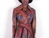 vintage 70s Wilson's patchwork distressed genuine leather short jacket blazer coat