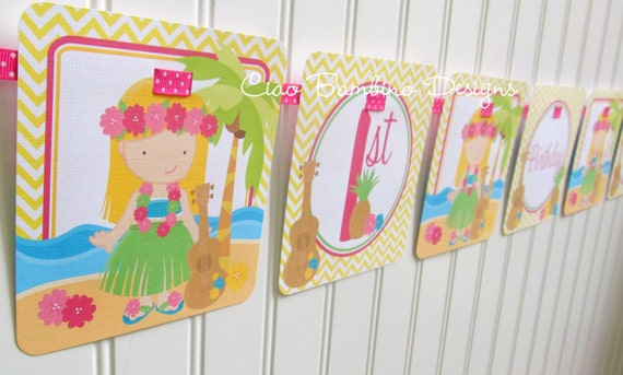 Luau Happy Birthday Banner / Choose your Hair Color/ Luau Banner Personalized with Name and Age