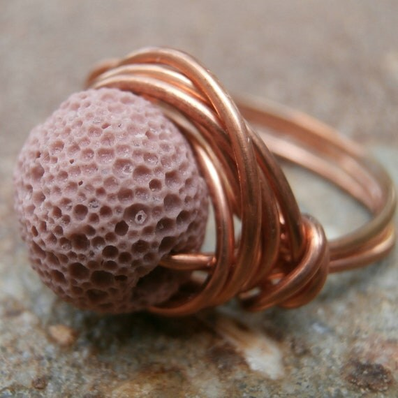 Lava Rock Jewelry, Lava Ring - Natural Jewelry - Copper Volcanic Rock Ring - Rustic Nature Inspired Jewelry