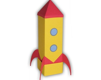 Rocket Ship Digital PDF Gift Box Favor Party Printable Color Template