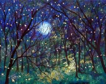 Giclee Canvas Print Fireflies under springtime moon Vadal - 20 x 16 x 3/4