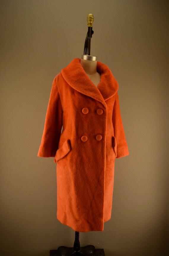 1960s tangerine coat / Vintage designer coat / 60s Lilli Ann Coat