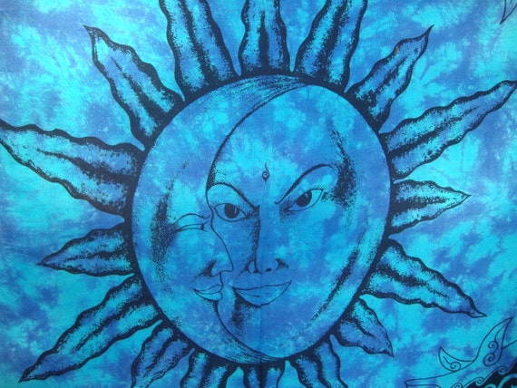 Hippie tapestry fabric moon and sun for Sun and moon material