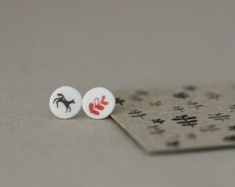 Black Horse and Leaf - Porcelain Studs