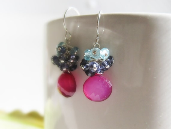 Cluster Drop Earrings - small eco-friendly silver, hot pink fuchsia blue ombre - Berry'd Treasure