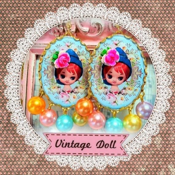 Vintage Doll Cameo Earrings.