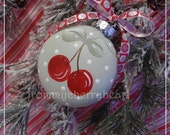 Sage Green Polka Dot Glass Christmas Ornament w Cherries csst