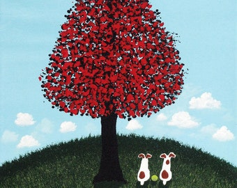 Jack Russell Terrier Dog Folk Art print by Todd Young Red Maple Tree