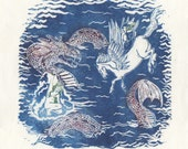 Perseus on Pegasus Rescues Andromeda from the Sea Monster Linocut - Greek Myth Lino Block Illustration with Sea Creature & Flying Horse