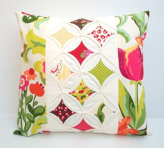 Modern Quilted Pillow Covers : Quilted Modern Decorative Pillow Cover Throw by warmnfuzzies