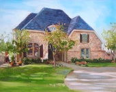 "House Home Portrait, 8  x 10"" custom oil painting, made to order"