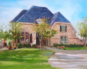 Custom Home Portrait, 8  x 10 oil painting