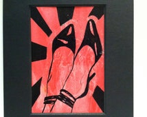 tender, original stiletto heel painting, modern art in red and black acrylic on paper with collage and sunburst in black mat frame