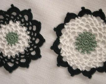 "New Handmade Crocheted ""83"" Coaster/Doily - Lot of 2 in Spruce/White/Hunter"