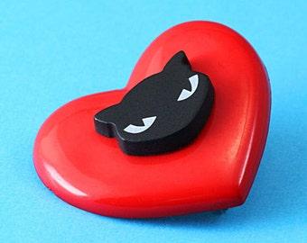 Heart & Black Cat Brooch - Red and Black - Kawaii