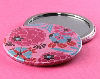 Pocket Mirror Flowers - Pink & Blue