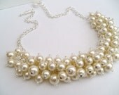 Set of 5 - Ivory Pearl Beaded Necklace, Bridal Jewelry, Cluster Necklace, Chunky Necklace, Bridesmaid Gift, Custom Colours