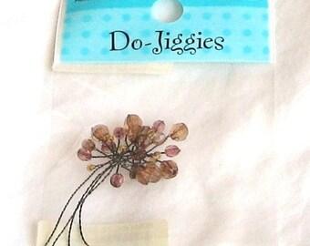 Floral, do jiggies, beads on wire, pink, F, destash