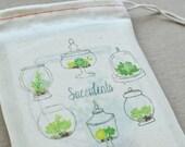 Succulent Terrarium Blank Notecard Set in Reusable Muslin Bag