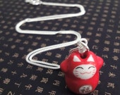 Lucky Cat Charm Necklace - Fu (Fortune)