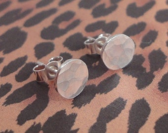 Hammered Silver Round Stud Earrings
