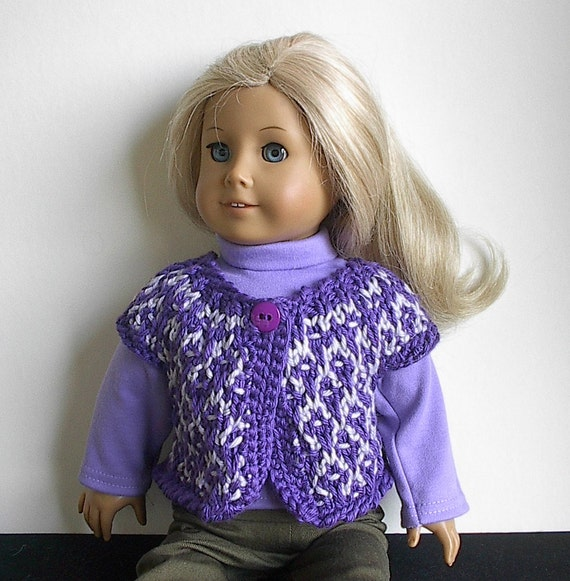 American Girl Doll Clothes Handknit Sweater Vest in Lavender and Purple Iris Trim for 18 Inch Dolls