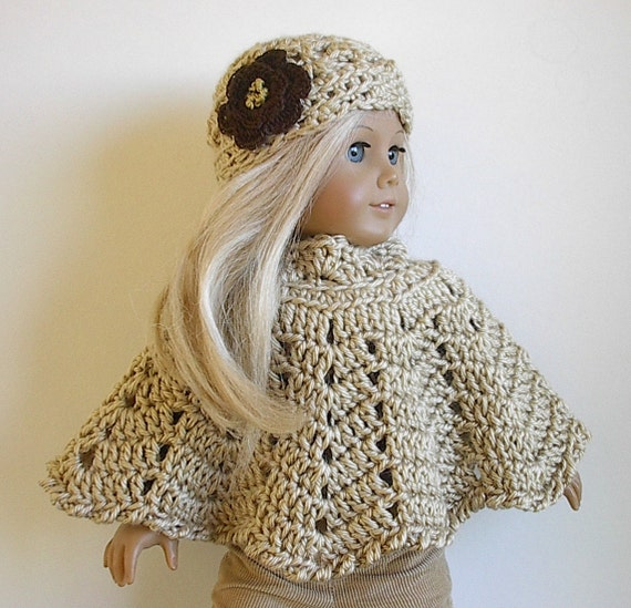 Crocheting Doll Clothes : 18 Inch Doll Crocheted Poncho Set with Flowered Hat Handmade by ...