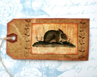 Shabby Primitive Rabbit Gift Tags